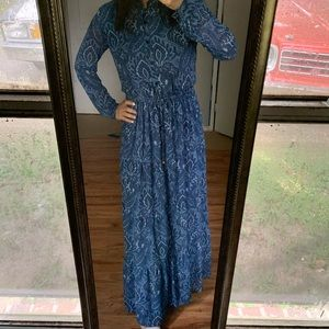 Michael Kors Navy Paisley Maxi Dress